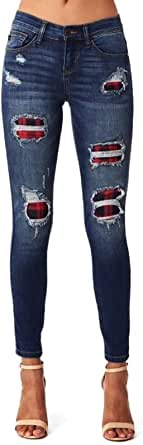 Anbech Women Plaid Patchwork Destroyed Jeans Mid Waist Ripped Denim Pants Cool Skinny Trousers