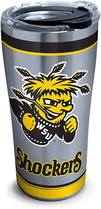Amazon Com Tervis Wichita State Shockers Tradition Stainless Steel Insulated Tumbler With Clear And Black Hammer Lid 20 Oz Tumblers Water Glasses