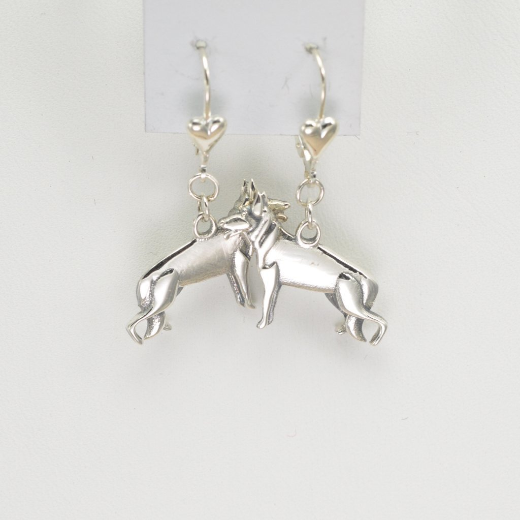 Sterling Silver German Shepherd Earrings, Silver German Shepherd Jewelry fr Donna Pizarro's Animal Whimsey Collection