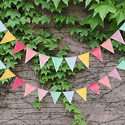 18PCS First Kitchen 4 M//13 Feet Colorful Decorative Banner,Baby Shower Pennant Garlands,Birthday Burlap Swallowtail Flags,Vintage Cloth Shabby Chic Decoration for Wedding FirstKitchen