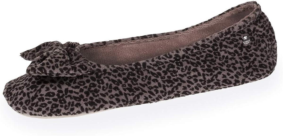 Isotoner - Zapatillas de bailarinas para mujer, diseño de leopardo