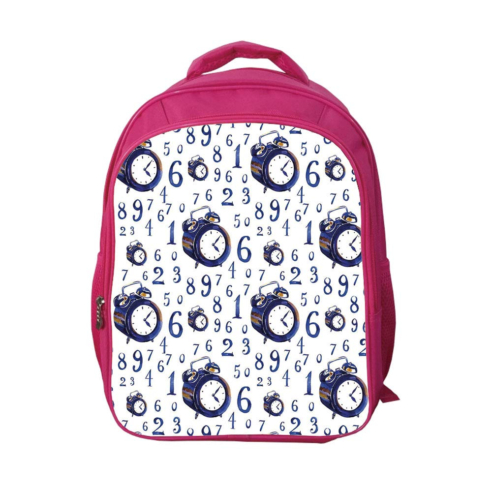 iPrint School Bags Kid's Backpacks Alleviate Excessive Burden,Clock Decor,Watercolor Style Effect an Alarm Clock Illustration Caligraphic Numbers,Blue and White,Graph Customization Design.