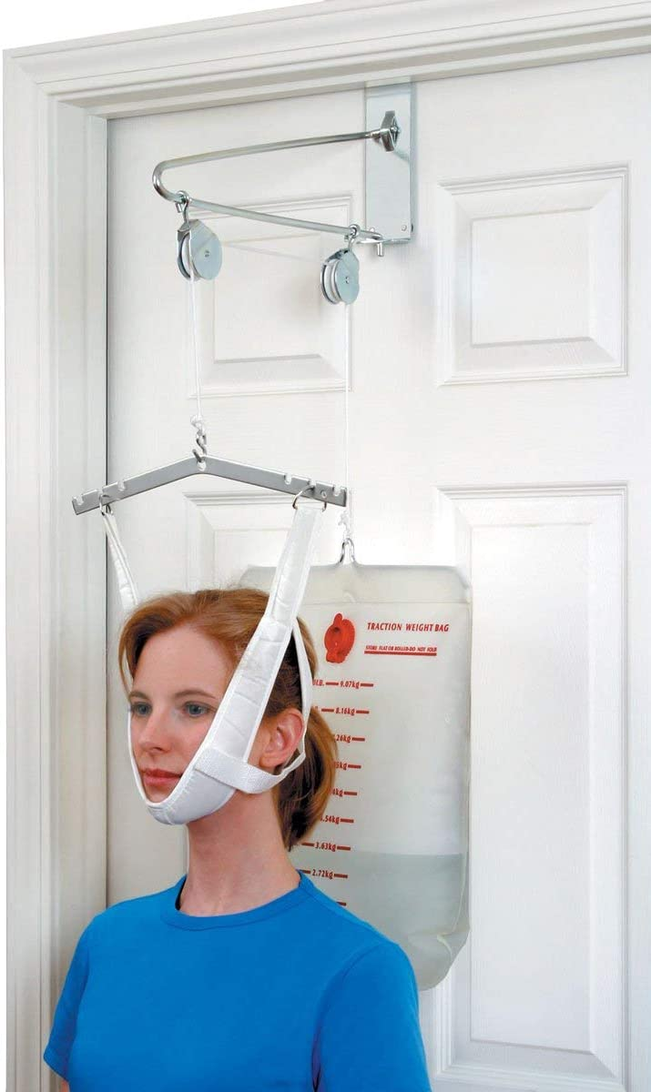 DMI Cervical Neck Traction Over the Door Device for Physical Therapy Helps Neck Pain, Arthritis, Disc Bulges and Minor Fractions of the Spine with 20 Pound Graduated Scale