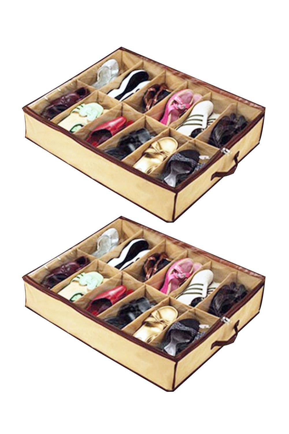 eyesonme Home Storage Shoe Organizers 12 Cells Under Bed Bag Foldable Closet Drawer, 2 pcs by eyesonme (Image #1)