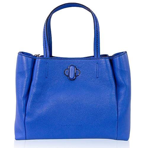 complementos es de azul italiano VISONÀ Bolso diseñador Plinio asa Zapatos Amazon cuero mano de de cobalto de y 5HqT06nqwU