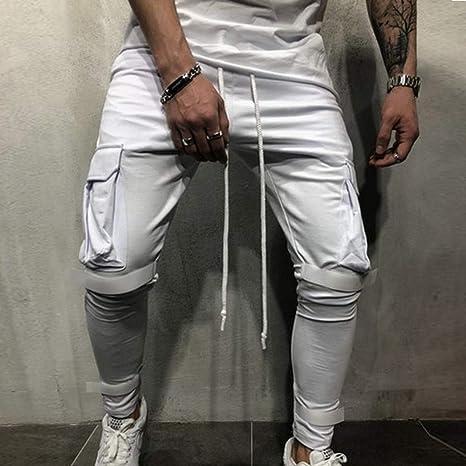 Moda Hombres Sueltos Pantalones para Otoño Invierno de Bolsillo Joggers  Ocasionales Deportes de Pantalones chándal para Hombre Pantalones cómodos  Holgados  ... a75fcf5ab842b
