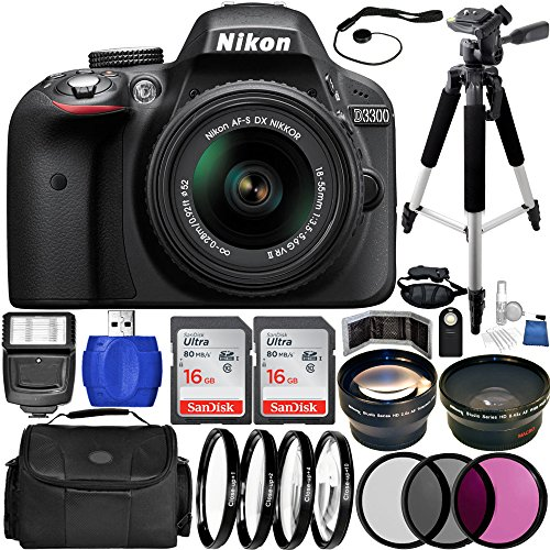 Nikon D3300 DSLR Camera (Black) Bundle with DX NIKKOR 18-55mm f/3.5-5.6G VR Lens, Carrying Case and Accessory Kit...