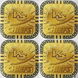 4 Kansas City Chiefs NFL Licensed Fremont Die Gold Metal Drink Coasters