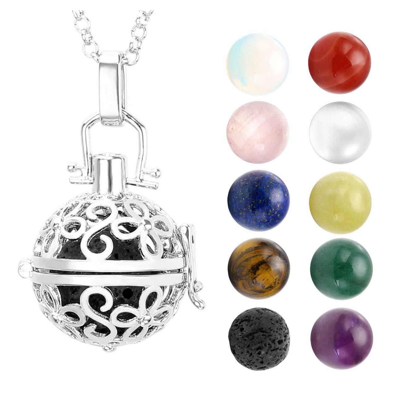 JOVIVI Mixed Natural Gem Stones Gemstone Chakra Flower Pendant/Locket Necklace 28\