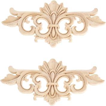 MUXSAM 4 piezas de 15 x 15 cm de madera tallada en esquina para decoraci/ón del hogar apliques sin pintar.