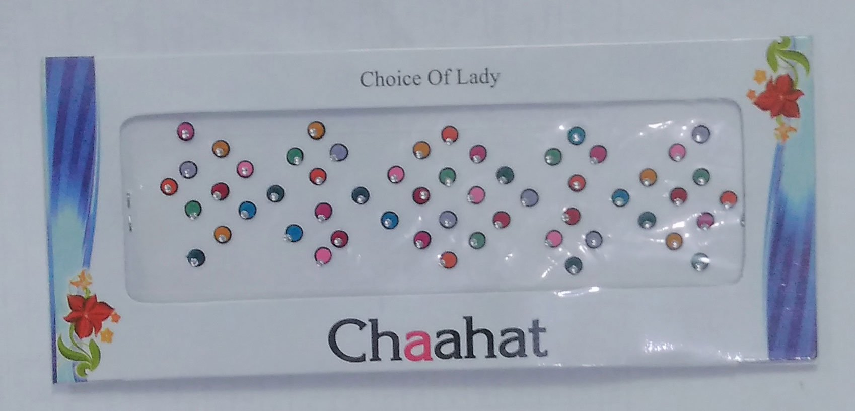 Pack of 12 - Chaahat Choice of Lady Multi Colors Multi Size Small Round Bindi Indian Art Bollywood Reuseable Bindi Self Adhesive Body Stickers/tattoo (BC-7)