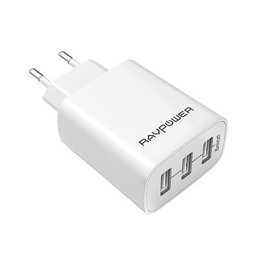 1608 opinioni per RAVPower Caricatore USB da Muro a 3 Porte (30W, 5V/6A), con Output Massima fino