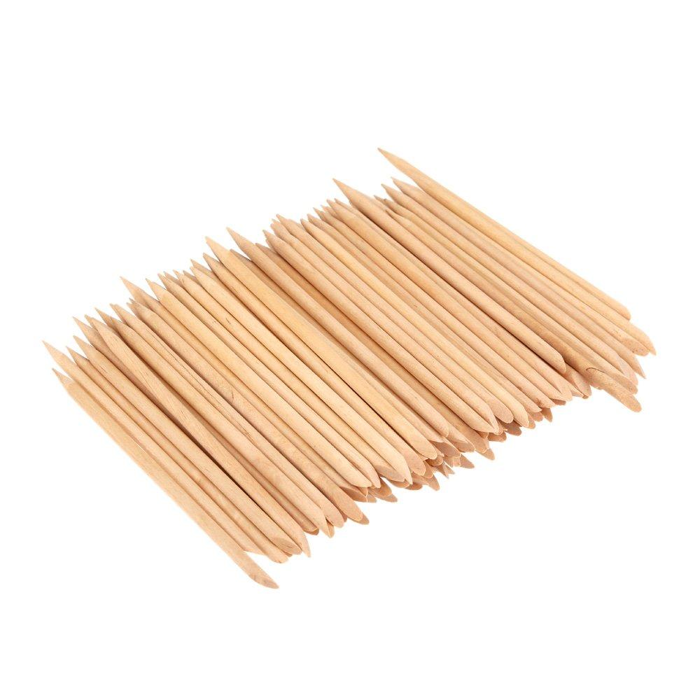 Walmeck 100pcs Design Orange Wood Stick Cuticle Pusher Remover Manicure Care Professional Manicure Tools Accessories