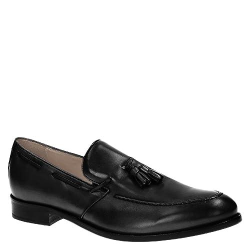 Mocasines de Hombres Hechos a Mano con borlas en Cuero Negro: Amazon.es: Zapatos y complementos