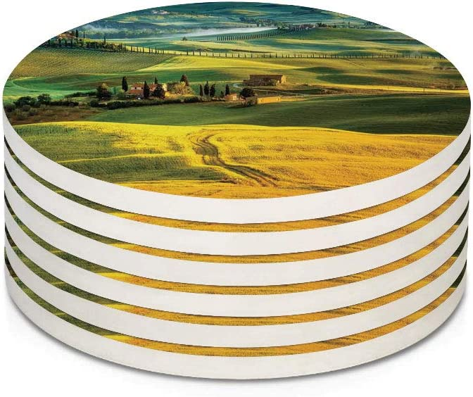 Tuscan 6 Pieces Ceramic Drink Coasters,Idyllic Landscape of Tuscany Road and Cypresses to Medieval Farmhouse Image Absorbent Stone Coaster Set,Housewarming Gift for Home Decor,Mustard and Green