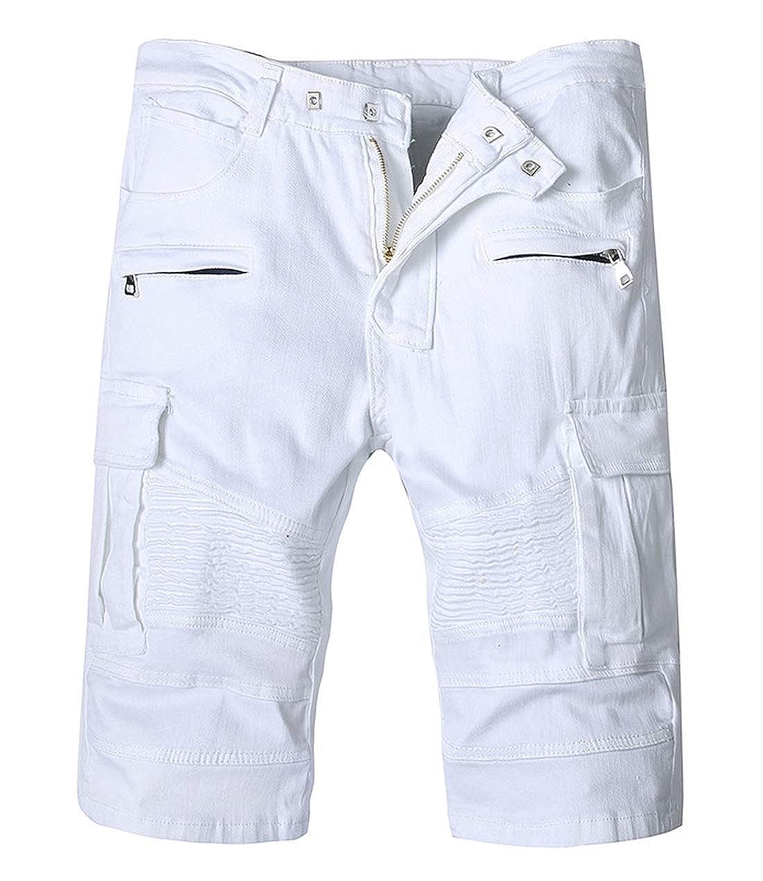 chouyatou Mens Slim-Fit Cargo Pocket Ruffled Knee Biker Jean Shorts Denim Short Pants