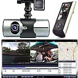 Indigi® HD Car DVR Dual Camera Lens Dash Cam Night Vision GPS Logger G-Sensor Time Stamp