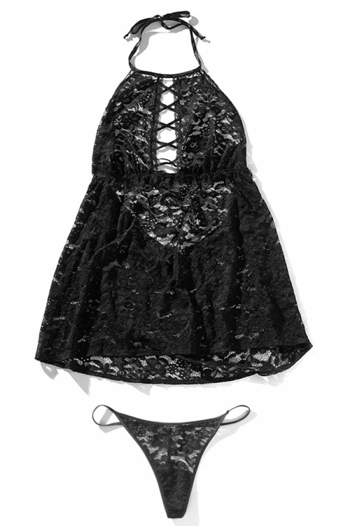 Womens-Sexy-Black-Allover-Lace-Lingerie-Plus-Size-Plunge-Crisscross-High-Neck-Babydoll