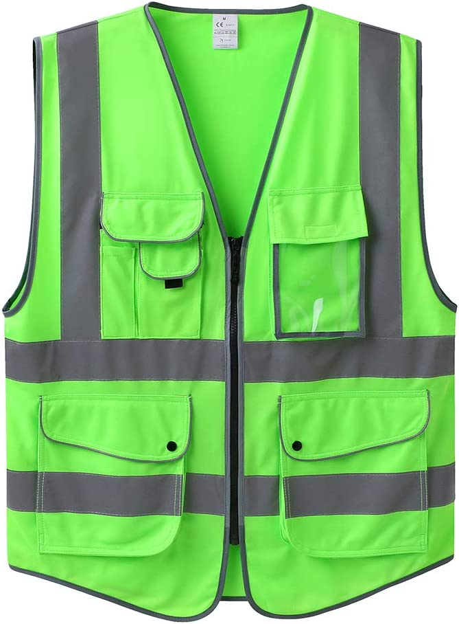 LOHASPRO Safety Vest High Visibility - 9 Pockets Reflective Vest for Men & Women - ANSI/ISEA Standards (Medium, APPLE GREEN)