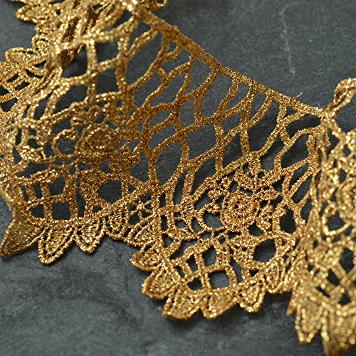 3-1/4 Inch Metallic Gold Lace Trim for Bridal, Costume or Jewelry, Crafts and Sewing by 1 Yard, LP-MX-2822