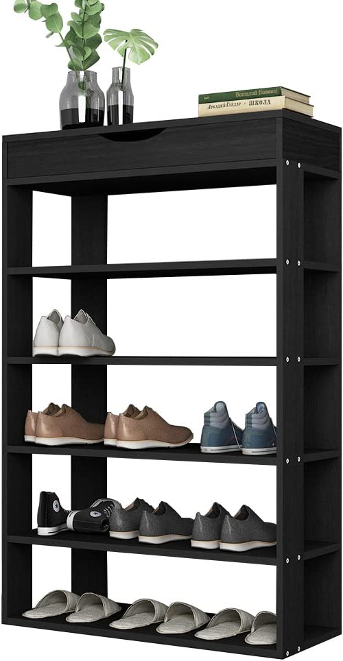 SogesHome Shoe Rack 5 Tier Free Standing Shoes Shelf 29.5inch Wooden Shoe Storage Shelf Shoe Organizer, Black L24-BK-SH