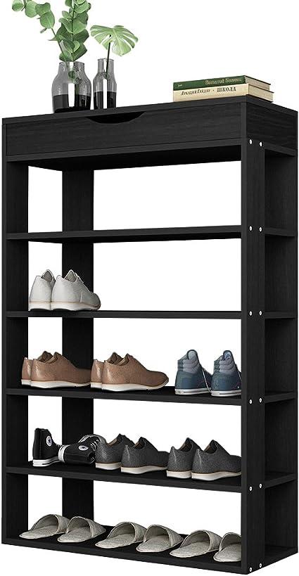 sogesfurniture DIY Zapatero de Madera con 5 Niveles Estantería Zapatero para hasta 20 Zapatos, 75x30x94cm, Organizador de Almacenamiento de Zapatos ...