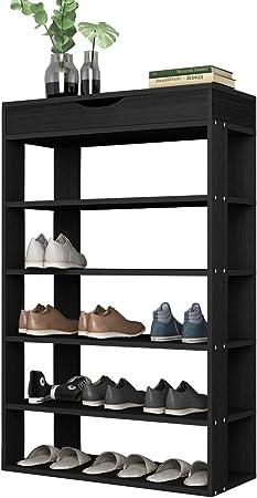 SogesHome 94 cm Range NoirL24 x Bois en 24 Tablettes tiroirsétagère SH 75x avec Rangement Chaussures 5 de pour Chaussures BK A5j4RL