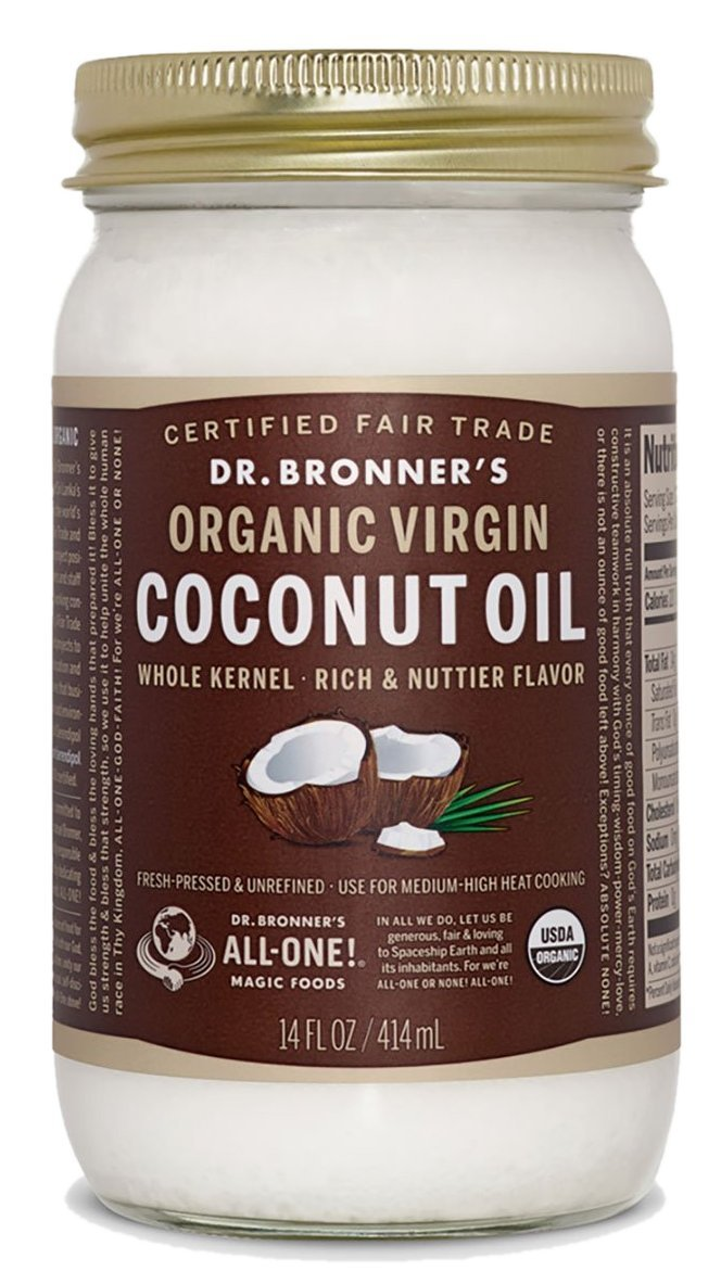 Dr. Bronner's Organic Virgin Coconut Oil. Unrefined Whole Kernel Coconut Oil Tub. (14 oz. Glass Jar)