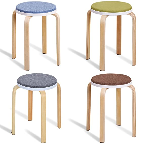 JL Comfurni Sturdy Stool ChairWooden Small Round Table Stools With Padded Soft Cushion Grey Amazoncouk Kitchen Home