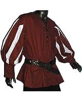 Mittelalter Landsknechthemd rot, Einsätze in weiß, Größen XS - XXXL