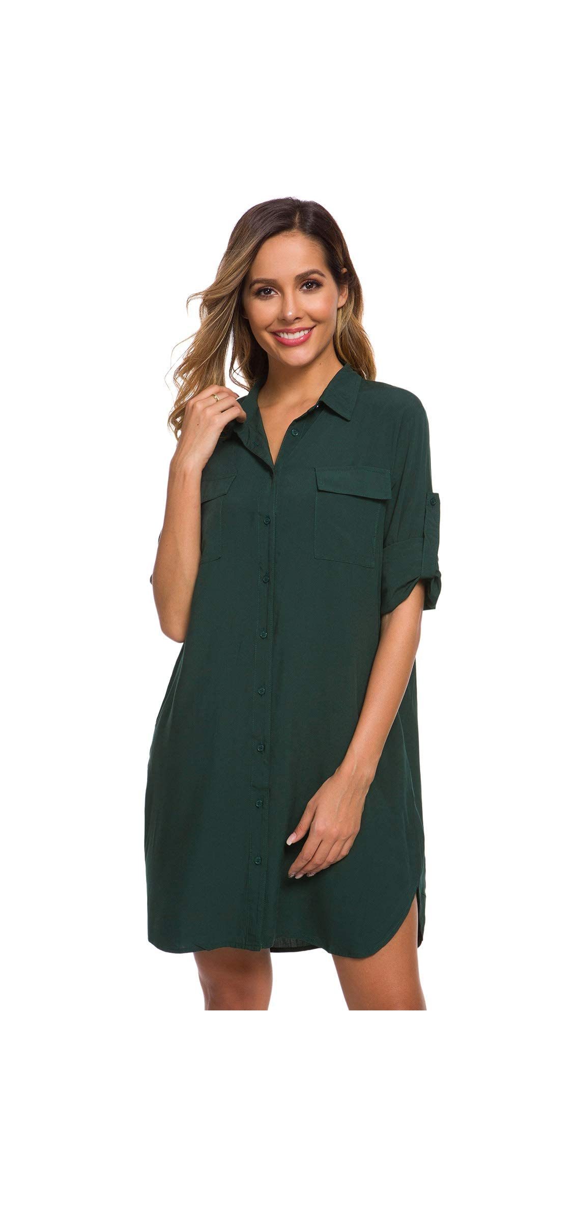Women's Long Sleeve V Neck Button Down Shirt Dresses With