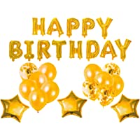 Forzza Happy Birthday Balloons Set in Gold for Party Decoration/Celebration