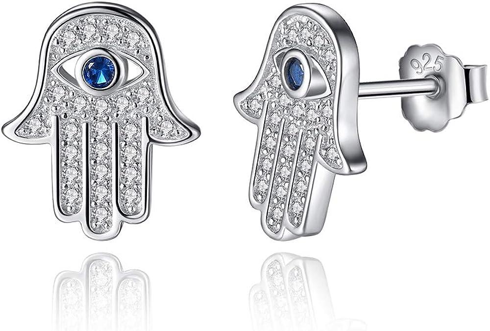 925 plata esterlina azul lucky eye Hamsa Hand Stud Pendientes para mujeres con cristal claro pendientes joyería regalo de joyería
