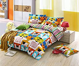 MeMoreCool Home Textile Cute Kids Students Bedding Set Cartoon Animal Story Pattern Duvet Cover Boys and Girls 100% Cotton Bedding Fillet Bed Sheets Twin Size 3Pcs