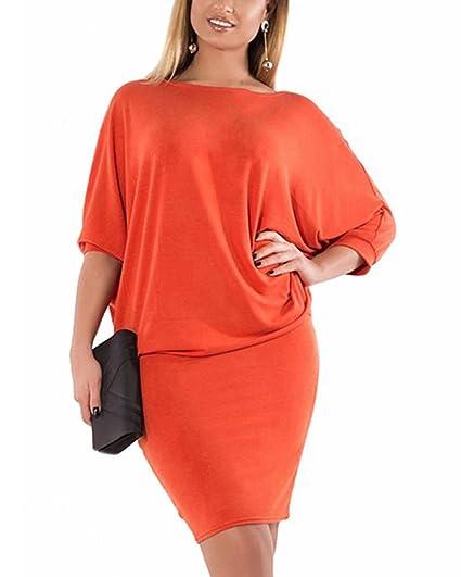 CACNCUT Plus Size Office Dress Elegant Work 3/4 Sleeve Loose Dresses ...