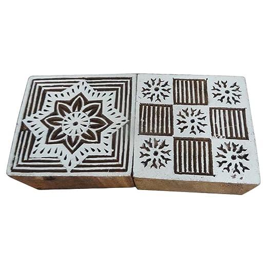 diseño cuadrado sello de bloque de madera, tatuaje, indio bloque ...