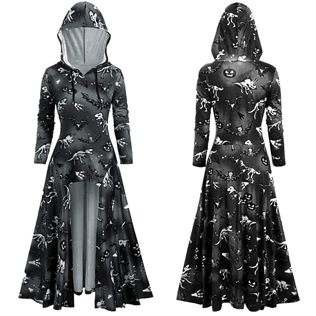 Women's Halloween Dress, Women Fashion Dress Long Sleeve Hooded Dress Floral Printing Casual Dress Black by RINKOUa