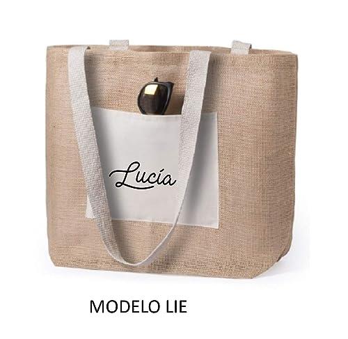 Bolso mujer playa, yute natural con bolsillo de algodón personalizado. Bolso playa verano.: Amazon.es: Handmade
