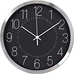 TOHOOYO Silent Simple Wall Clock 12-Inch Round Non-Ticking Sweep Movement Clocks Battery Operated Stainless Steel Frame Metal Good for Living Room & Home & Office (Black)