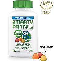 SmartyPants Kids Formula & Fiber Daily Gummy Vitamins: Gluten Free, Multivitamin & Omega 3 Fish Oil (DHA/EPA), Fiber, Methyl B12, Vitamin D3, Vitamin B6, 120 Count (30 Day Supply) - Packaging May Vary