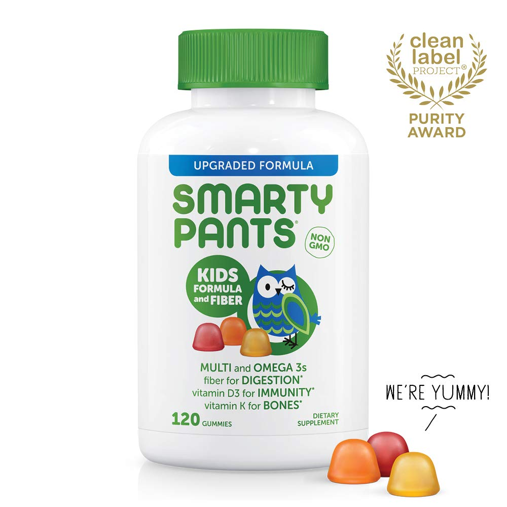 SmartyPants Kids Formula & Fiber Daily Gummy Vitamins: Gluten Free, Multivitamin & Omega 3 Fish Oil (DHA/EPA), Fiber, Methyl B12, Vitamin D3, Vitamin B6, 120 Count (30 Day Supply)