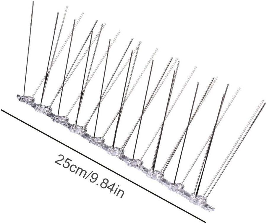 Dequate Pack De 12 Antipalomas-3M Pinchos para Ahuyentar Acero Keep Gaviotas, Pájaro Y Palomas, 25cm 1 Unids, 25 cm