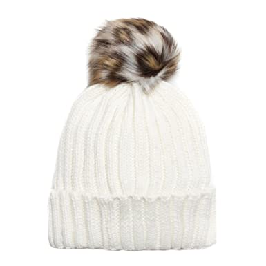 63a395ab Image Unavailable. Image not available for. Color: Accessoryo Women's Cream  Beanie Hat with Leopard Print Faux ...