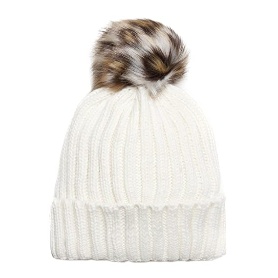 82da638a67c Accessoryo Women s Cream Beanie Hat with Leopard Print Faux Fur Pompom   Amazon.co.uk  Clothing
