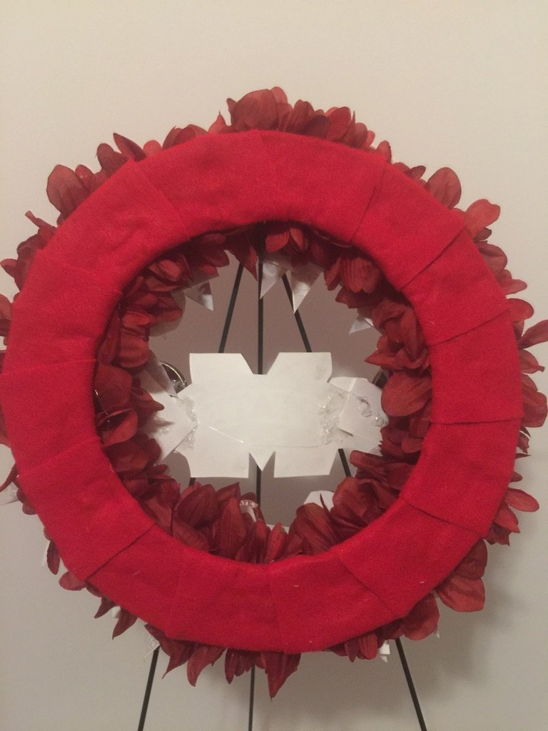 COLLEGE PRIDE - MSU -MISSISSIPPI STATE UNIVERSITY - BULLDOGS - DAWGS - DORM DECOR - DORM ROOM - COLLECTOR WREATH - MAROON DAHLIAS AND CHRYSANTHEMUMS by Peters Partners Design (Image #7)