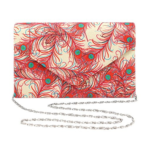 Gabrine Womens Evening Envelop Shoulder Bag Handbag Clutch Purse Vintage Style Shiny Fabric Material Colorful Pattern for Wedding Prom Party(Gold) by Gabrine
