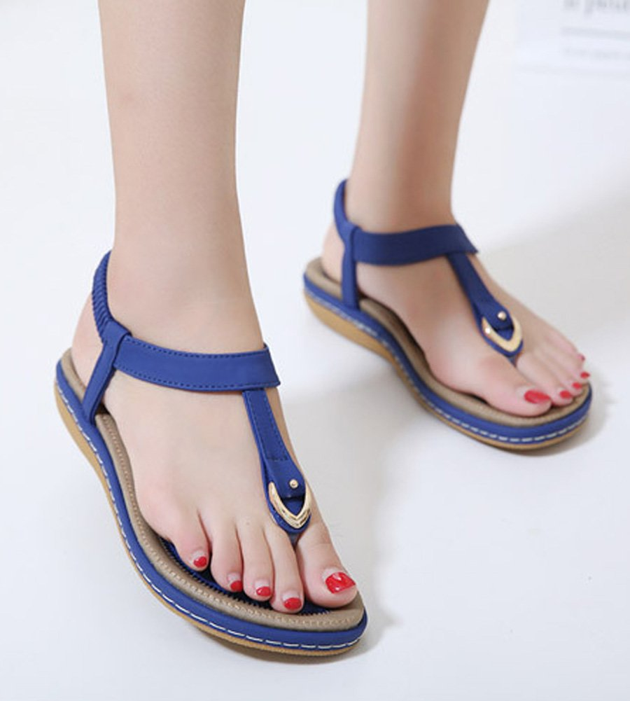 Maybest Ladies Style Flat Sandals- Women Summer Roman Sandals Comfy Shoes Blue US 7 by Maybest (Image #2)