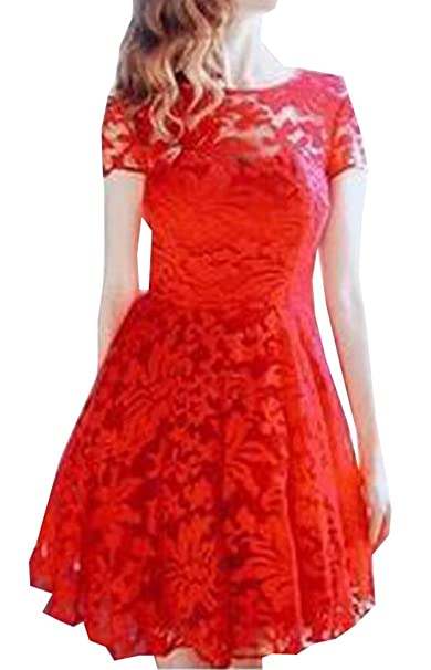 Jxg Women Solid Round Neck Short Sleeve Lace Skater Dress At