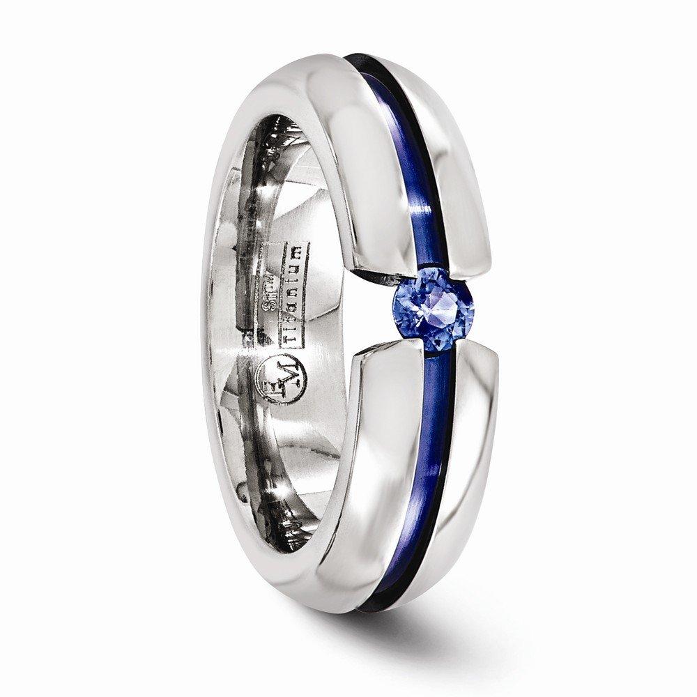 Bridal Wedding Bands Decorative Bands Edward Mirell Titanium Sapphire and Blue Anodized 6mm Band Size 11