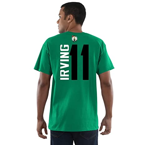 a7e63faa1d6 Image Unavailable. Image not available for. Color: Kyrie Irving Boston  Celtics Majestic Vertical Name & Number Player Tee ...
